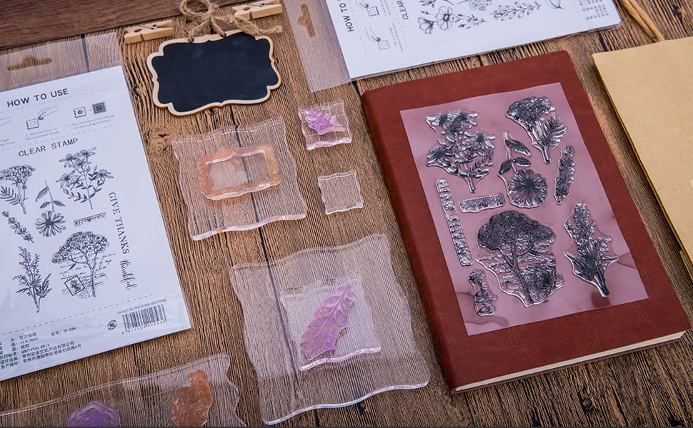 Vintage Plants and Flowers Silicone Rubber Stamps