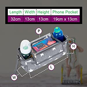 BTR buggy organiser shown & sizing to see the dimentions 32cm x 13cm x 13cm & phone pocket 19x13cm