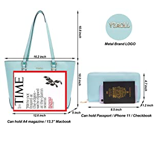 large purse and wallet size
