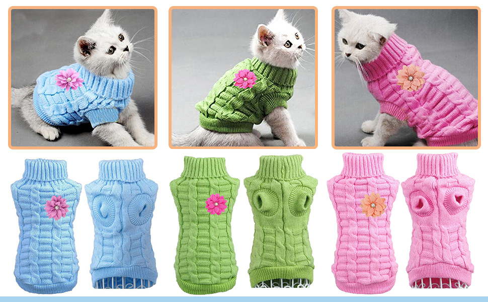 cat dog sweater for cats small dogs pink blue green