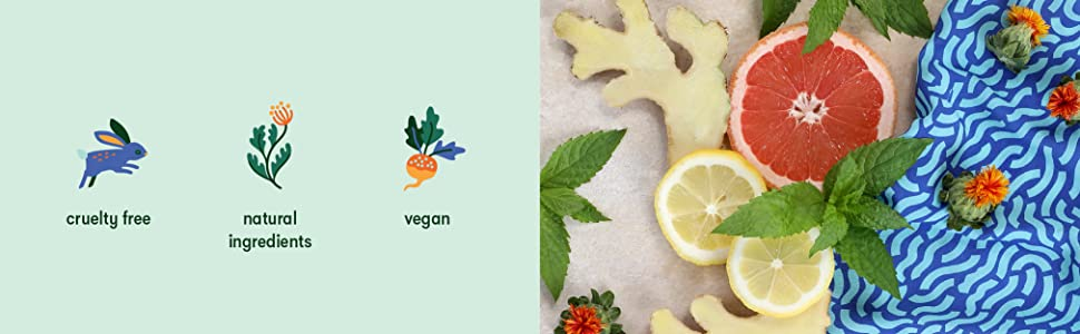 Cruelty Free, Natural Ingredients, Vegan with Icons