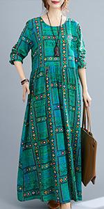 vintage floral dress boho long dresses for women casual fall,