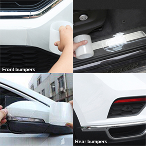 4In x 33Ft, Transparent Car Door Edge Guards Clear Car Door Protector Universal Door Sill Protector Car Door Anti-Collision Front Rear Door Entry Sill Guard Scuff Plate Fits for Most Car