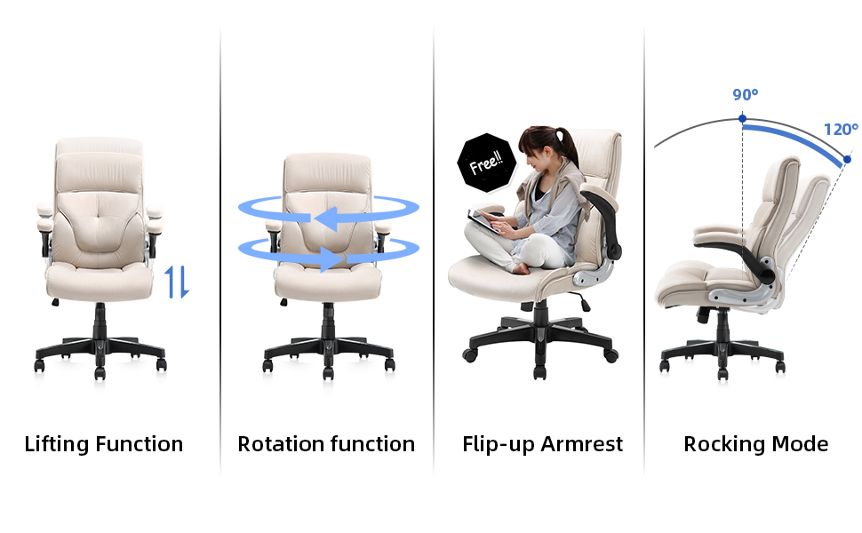 Computer Desk Chair, Thick Padding for Comfort and Ergonomic Design for Lumbar Support, Beige