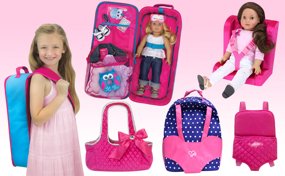 doll backpack, suitcase, travel set, Bjorn, car seat