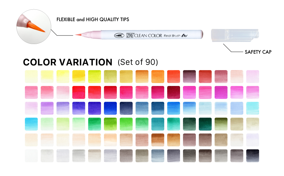 ZIG Clean Color Real Watercolor Brush Pens 90 Color Set Markers Made in Japan