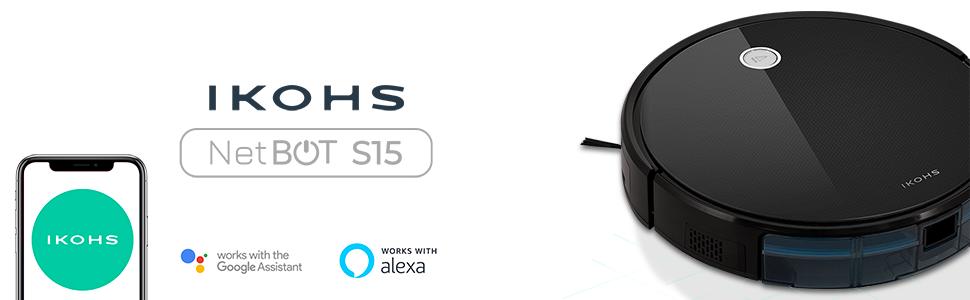 IKOHS netbot S15 - Robot aspirapolvere Professionale 4 in 1, Scopa, Aspira, Passa Il Panno E Lava, Adatto a Pavimenti e Tappeti, Ottimo per i Peli degli Animali Domestici (Nero-turchese)