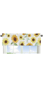 Yellow, Green and White Sunflower Boho Floral Window Treatment Valance