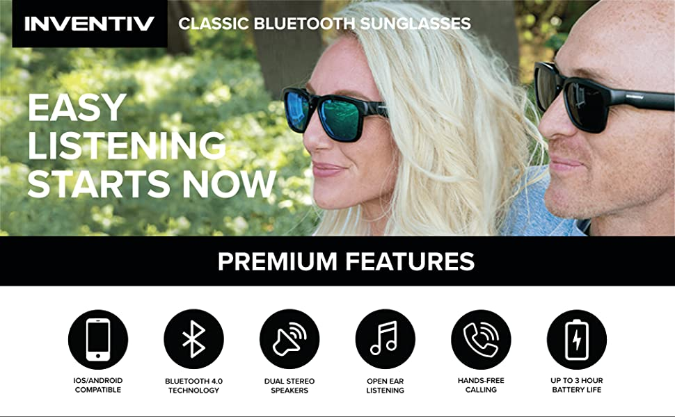 Bluetooth Sunglasses features including dual stereo speakers, open ear audio & hands-free calls