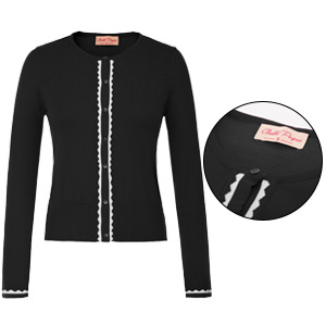 Belle Poque Womens Vintage Long Sleeve Crew Neck Button Party Contrast Cardigan Knitwear Tops GF779
