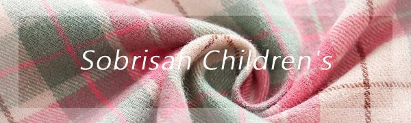 Sobrisah Kids Boy's Girl's Long Sleeve Button Down Plaid Flannel Shirts