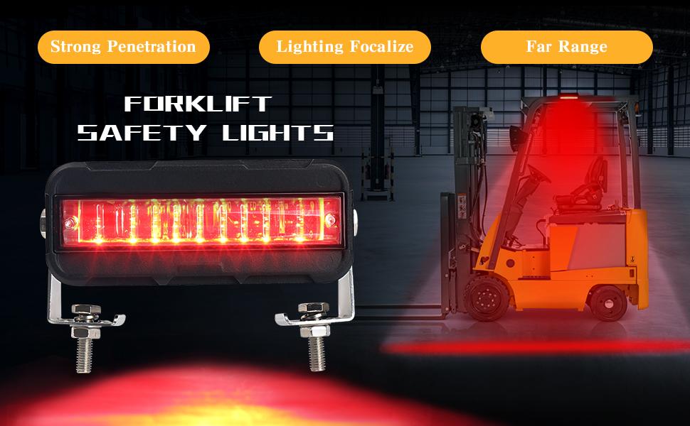 Luz LED de la carretilla elevadora lateral de la l/ínea del marcador de la luz del punto de advertencia 30W DC 12-80V Luz de seguridad rojo