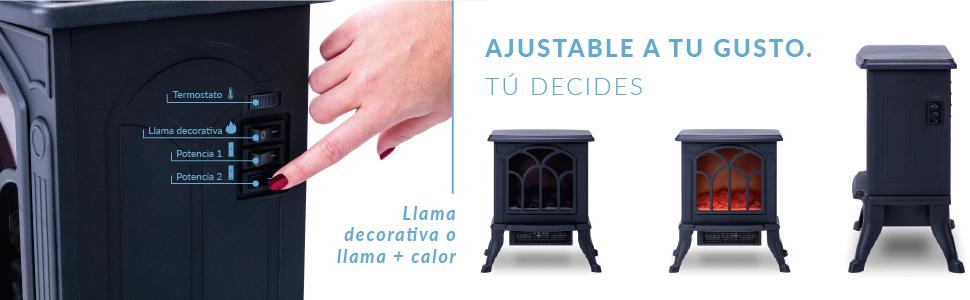 estufa electrica, calefactor ceramico, chimenea electrica, calefactor aire, calefactor ceramico