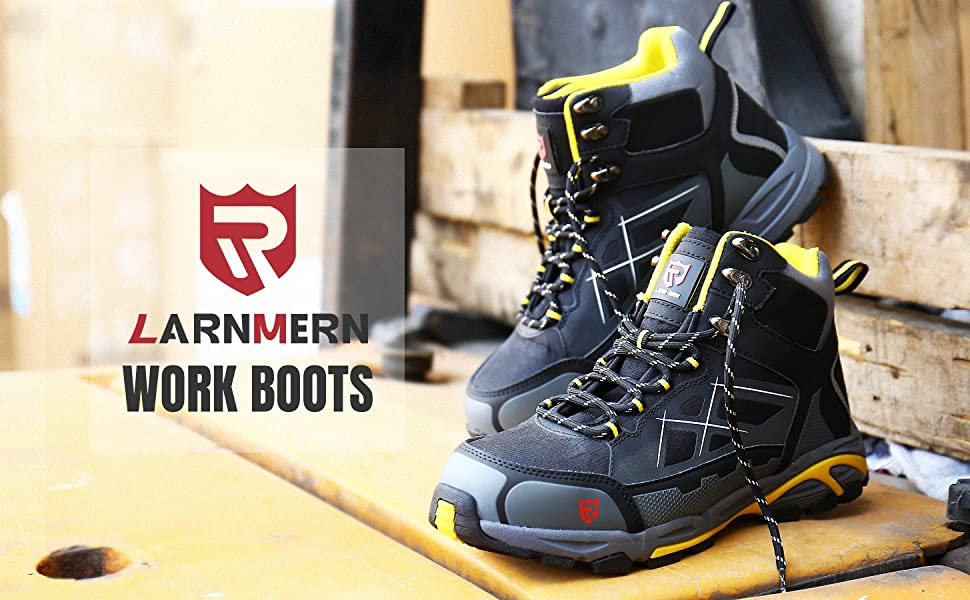 LARNMERN Steel Toe Boots Men Silp Resistant Contruction Safety Work Shoes