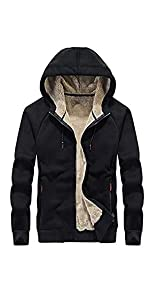 Omoone Men's Casual Thick Fleece Lined Hooded Jacket Coat Athletic Sweatshirts