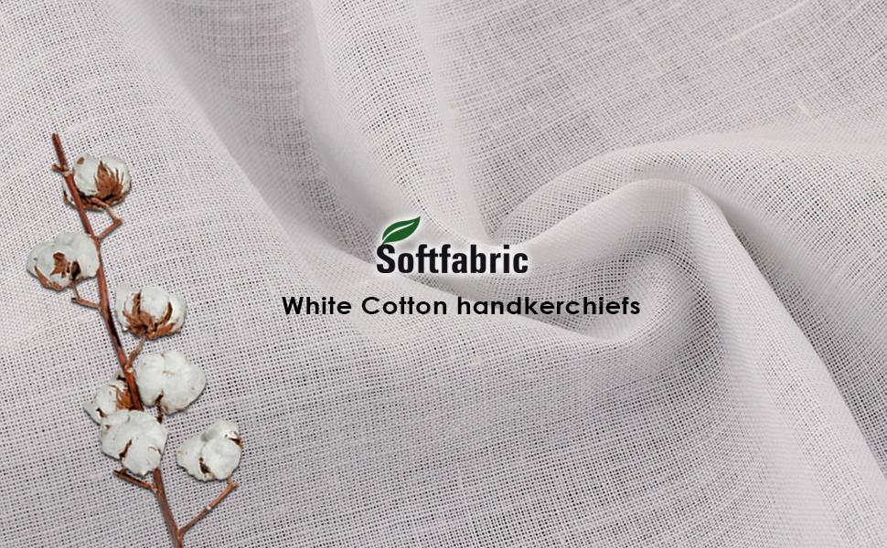 Men's White Handkerchiefs, 100% Pure Soft Cotton
