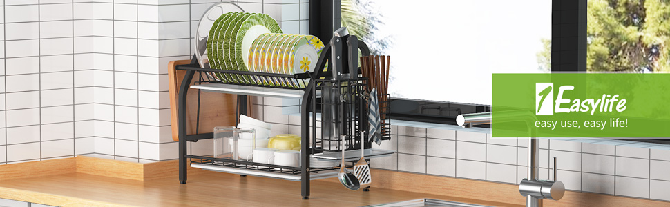 Over the Sink Dish Rack Stainless Steel Sink Rack Dish Drainers Rack Kitchen Sink Space Saver