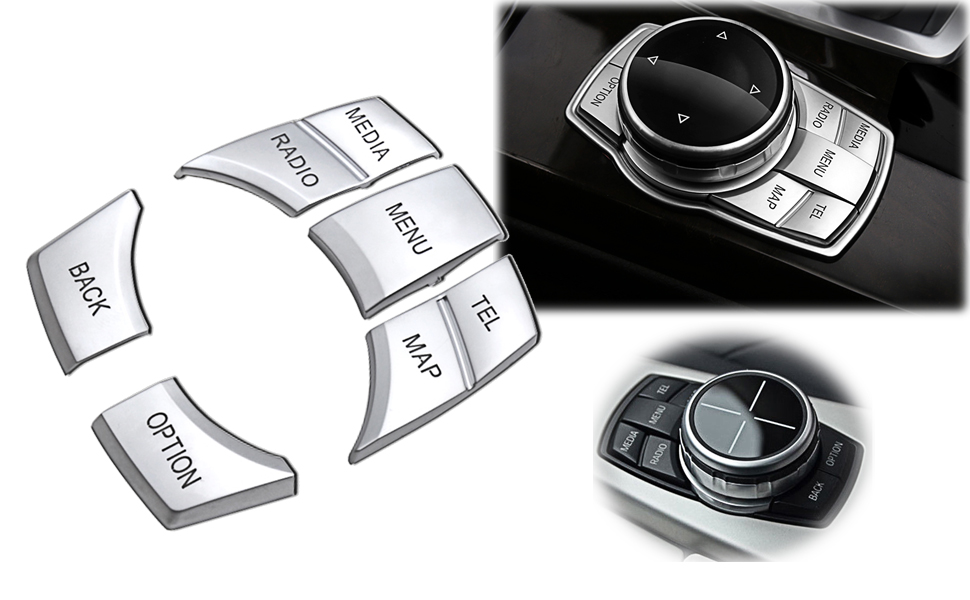 7x Pearl Silver I-Drive Multimedia Buttons Cover For 09-15 F01 F02 750i B7