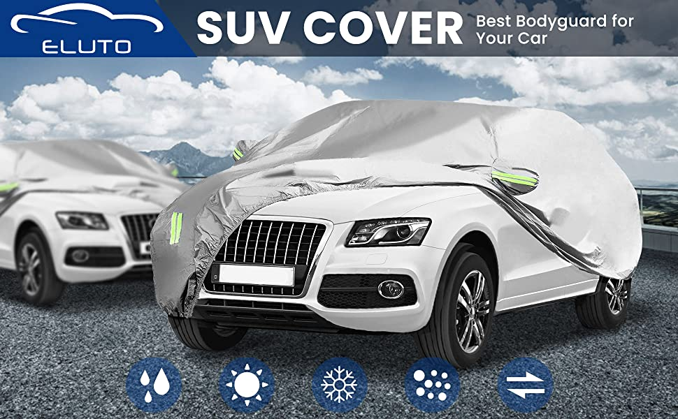 Special Car Cover for Mitsubishi Pajero 4 2007-2017 All Weather Full Coverage Breathable Windproof Waterproof Dustproof Scratch Resistant UV Protection Outdoor/&Indoor Cover Yellow