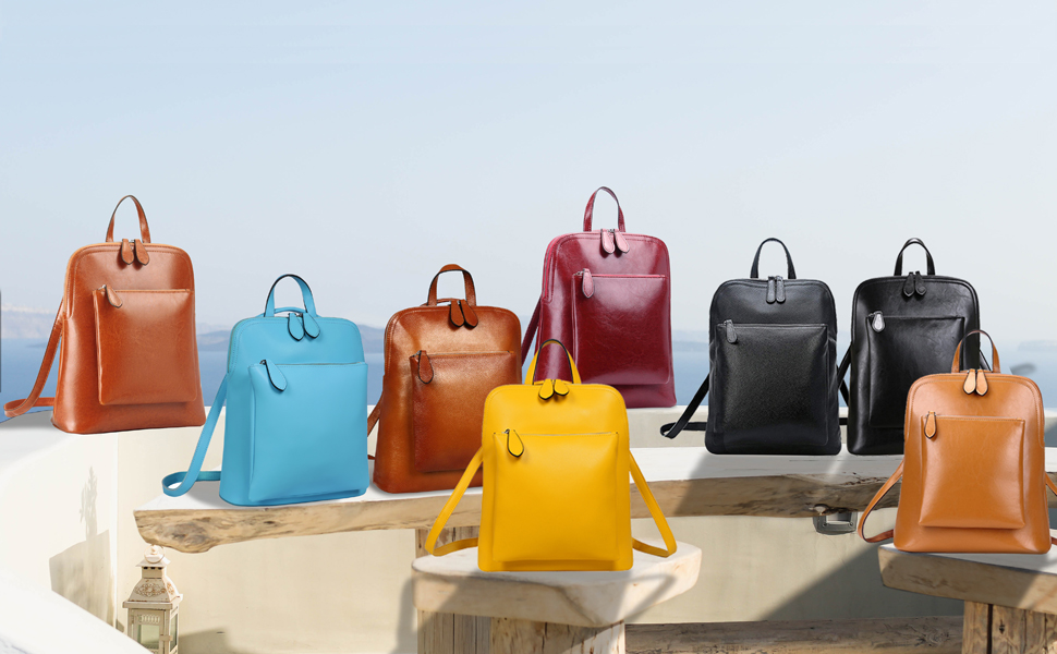 women leather backpack and causal daypack