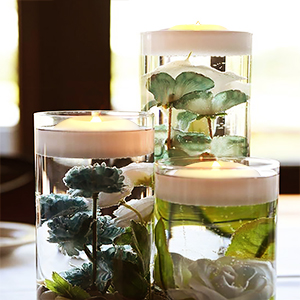Flameless Floating Candle with Cylinder Vase