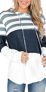 Womens Striped Color Block Hoodies