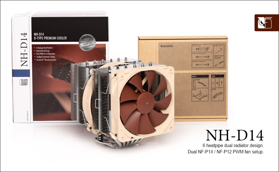 Brown Noctua NH-D14 Premium CPU Cooler with Dual NF-P14 PWM and NF-P12 PWM Fans