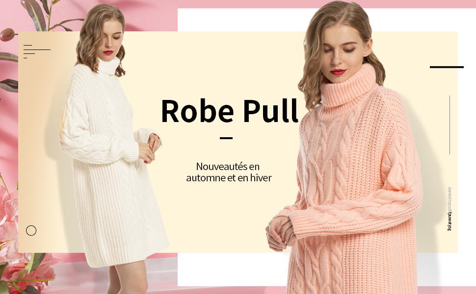 MessBebe Robe Pull Col Roul/é C/ôtel/é Tricot/é Manches Longues Automne Hiver Chandail Pull-Over Mode Vintage Chic Mini-Robe