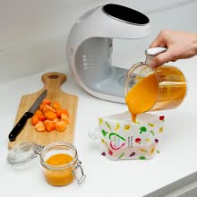 Baby Food Processor - Baby Food Maker   Baby Food Processor Blender Grinder Steamer   Cooks & Blends Healthy Homemade Baby Food In Minutes   Self Cleans   Touch Screen Control   6 Reusable Food Pouches