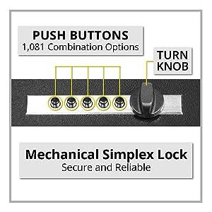 Stealth Portable Handgun Safe Mechanical Simplex Lock