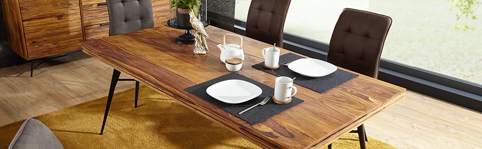 FINEBUY Esstisch »SuVa13246_1«, Massiver Esstisch NASHA Sheesham Massiv Holz Esszimmertisch Massivholz mit Design Metall Beinen Holztisch Tisch