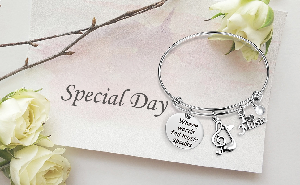 Musical Jewelry Music Lover Gifts Music Theme Charms bracelet Singing bracelet Microphone Jewelry