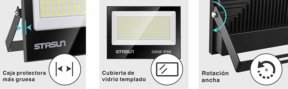 STASUN Focos Led Exterior 200W, Luz de Inundación, 6000K Luz del ...