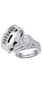 Bride and Groom Wedding Band Set Black IP Brushed Finish Beveled Edge Comfort Fit Cobalt Chrome Wedding Rings Engagement Rings CT410-414