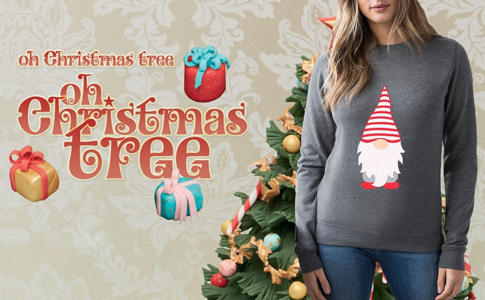 Little Santa Claus Printed T-Shirt for Women Funny Christmas Celebration Shirt Long Sleeve Tees Tops