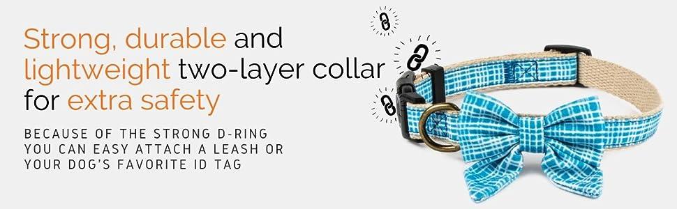 blue friendship dog collar strong hemp charm layer design extra safety light stylish leash id tag