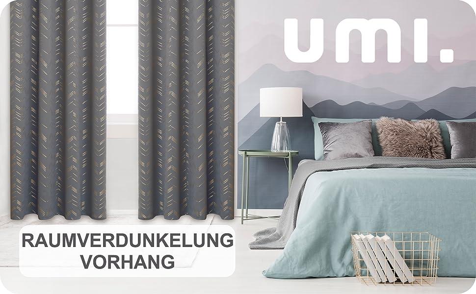 UMI by  2 St/ück Verdunkelungsvorhang Thermogardine mit Kr/äuselband Gardinen Schlafzimmer 138x107 cm Rot