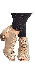 peep toe booties block heel sandals