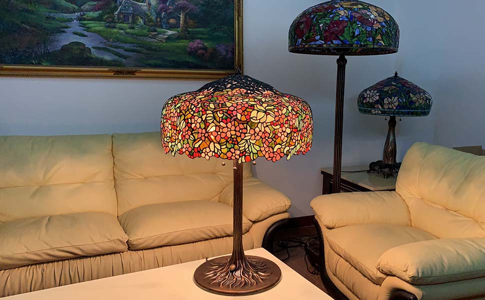 Bieye L10552 Cherry Blossom Tiffany Style Stained Glass Table Lamp with Brass Tree Trunk Base