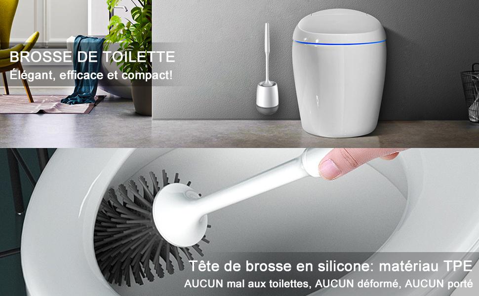 Abenily Brosse de Toilette et Support Mural avec Porte-Brosse WC de Style europ/éen Noir