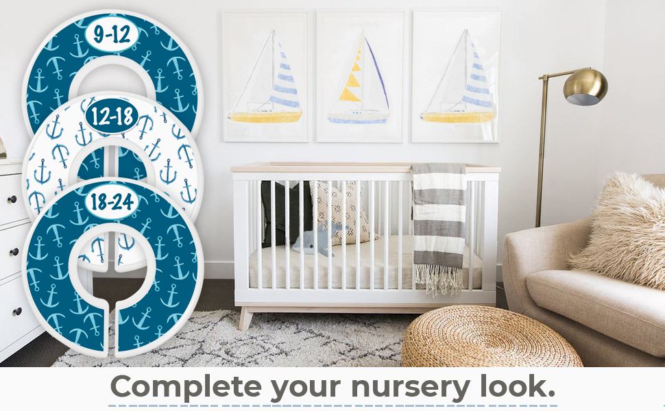 Nautical nursery boats anchors whale dolphin blue baby closet divider baby nursery baby gift set