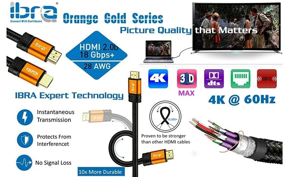 4K HDMI Cable High speed 3D Ultra hd lead braided Gaming cord 3ft 6ft 10ft 15ft 20ft 25ft 30ft