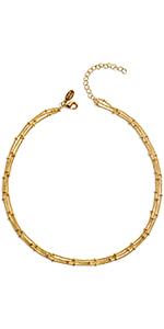 Triple Satellite Beaded Chain Choker Necklace