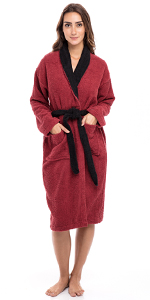 Womens Shawl Collar Bathrobe Hooded Terry Cotton Cloth Bathrobe