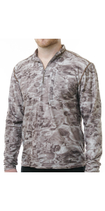 longsleeved zippered rashguard loose fit fishing hunting camo camouflage sun protection