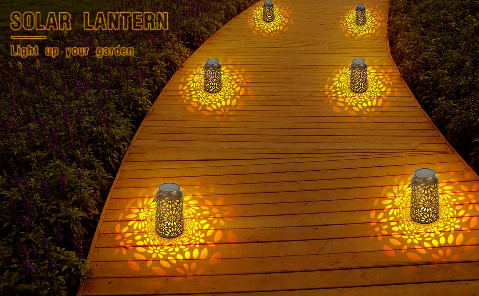 Luz de linterna solar para decoraciones - linternas solares Deaunbr para jardín, luces colgantes de lámpara LED a prueba de agua con mango para regalos de jardín, camino, árbol - bronce (1