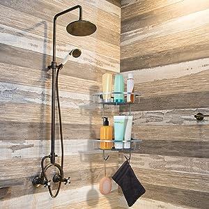 senza fori da bagno autoadesiva COSANSYS in acciaio INOX Mensola angolare per doccia