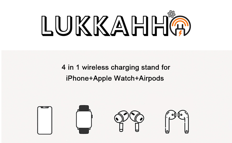 LUKKAHH 4 in 1 wireless charger station