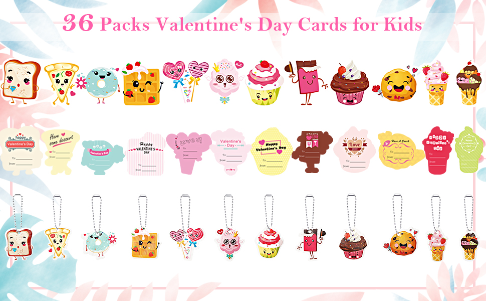 12 Kids Snack Cards Party Favors 36 Pink Gift Envelopes Valentines Day Cards For Kids 36 Valentine Cards +36 Cute Keychains Greeting Cards Valentines Exchange Cards for Kids Boys Girls Classroom