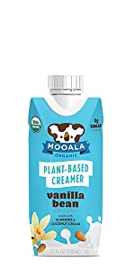 Mooala, Vanilla Bean, Coffee Creamer, Dairy-free, plant-based, non-gmo, no added sugar